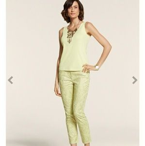 CHICO'S VINTAGE LACE CASUAL SATEEN SKIMMER ANKLE